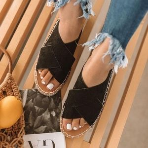 Black Pansy Slip On Espadrille Sandal
